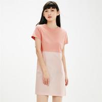 GIORDANO 佐丹奴 裙子女装纯棉针梭织拼接圆领连衣裙90461453