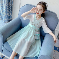 儿童汉服女童连衣裙儿童裙子大童女装中国风童装春夏装裙子12岁 绿色(送荷包 束腰) 110