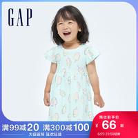 Gap女幼童蝴蝶袖连衣裙685565夏季2021新款童装纯棉可爱公主裙