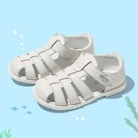 百丽童鞋21夏季新品男女幼童护趾宝宝包头凉鞋(22-29) 26 米色