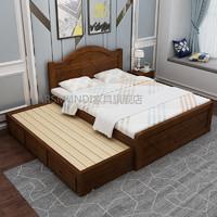 ARSMUNDI实木欧式吸塑1.5白色松木拖床双人床储物拖床双层床推拉床 棕橡色 1350mm*2000mm 框架结构