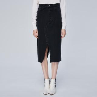 MISS SIXTY 纯棉毛边开衩一步裙黑色半身裙子女士高腰牛仔裙