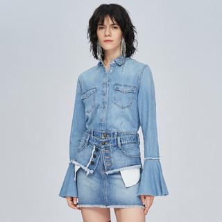 MISS SIXTY 纯棉印花设计感喇叭袖上衣长袖女士牛仔衬衫