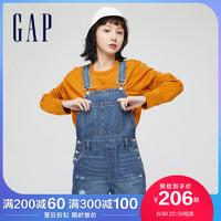 Gap女装破洞纯棉牛仔背带裤671718 2021夏季新款女士水洗潮流短裤 L(170/80A)
