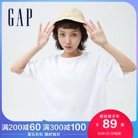 Gap女装纯棉宽松短袖688077夏季2021新款后背系带蝴蝶结淑女上衣