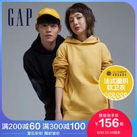 Gap男女同款logo法式圈织软卫衣2021春夏新款情侣装潮流连帽上衣