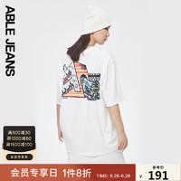 ABLE JEANS2021夏季新品毛裤街头薄款宽松中性男女短袖T恤781122 白色 S