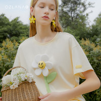 OZLANA2021夏季新品笑脸联名可拆卸雏菊短袖宽松打底衫情侣T恤女