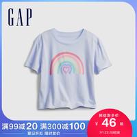 Gap女童爱心彩虹纯棉短袖T恤833947夏季2021新款童装可爱洋气上衣