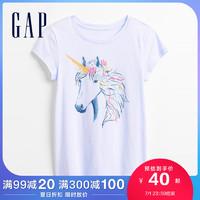 Gap女童纯棉短袖T恤676991 2021夏季新款童装爱心印花儿童上衣