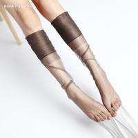 珞樱欧美风复古尼龙丝袜 5D超薄无弹力长筒袜 脚跟定型高筒吊带袜
