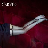 法国CERVIN Caprice 15D足部全透明窄边袜口尼龙无弹力薄吊带丝袜