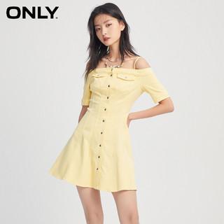 ONLY 2021夏季新款纯色修身性感吊带一字肩牛仔连衣裙女|121242016