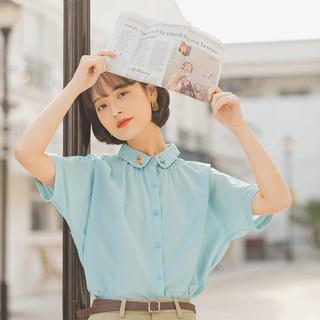 YINMAN 茵曼 2021夏新款女款短袖衬衣纯棉小翻领可爱绣花宽松百搭衬衫