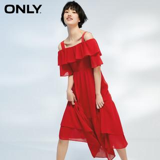 ONLY 夏季新款碎花一字肩设计吊带长款雪纺工艺连衣裙女|120207546