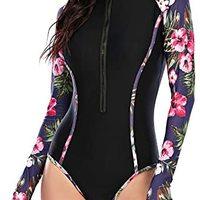 女式泳衣连体泳衣长袖防紫外线*运动花卉冲浪游泳衣
