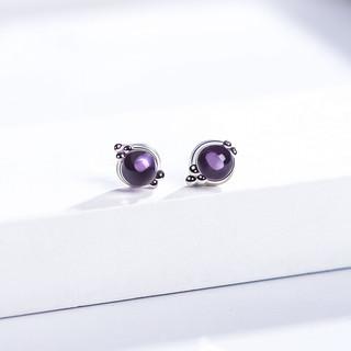 istone 石头记 合成紫水晶耳钉小圆珠耳饰S925银配饰耳环 节日礼物