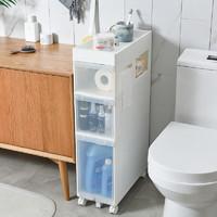 好尔卫生间置物架落地洗手间马桶厕所边角柜洗漱台防水夹缝浴室收纳储物架 白色(四层)