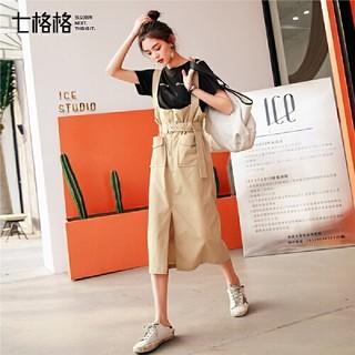 QIGEGE 七格格 半身裙女春夏2019新款高腰一步裙中长款修身学生复古背带裙