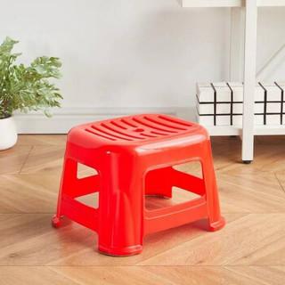 铜强 塑料凳字加厚防滑凳子 餐椅高凳矮凳圆凳等候椅浴室凳换鞋凳夜市烧烤凳子防滑小凳子 红色小号
