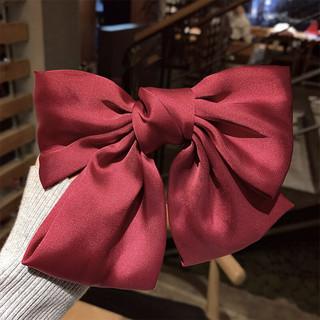 小还美 韩国大蝴蝶结发夹后脑勺发饰红色发卡学生头饰夹子女孩可爱女童卡子 红色蝴蝶结发夹
