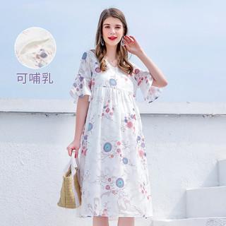 十月名裳 孕妇装连衣裙夏季薄款哺乳裙外出时尚宽松不显怀长款雪纺裙高级感