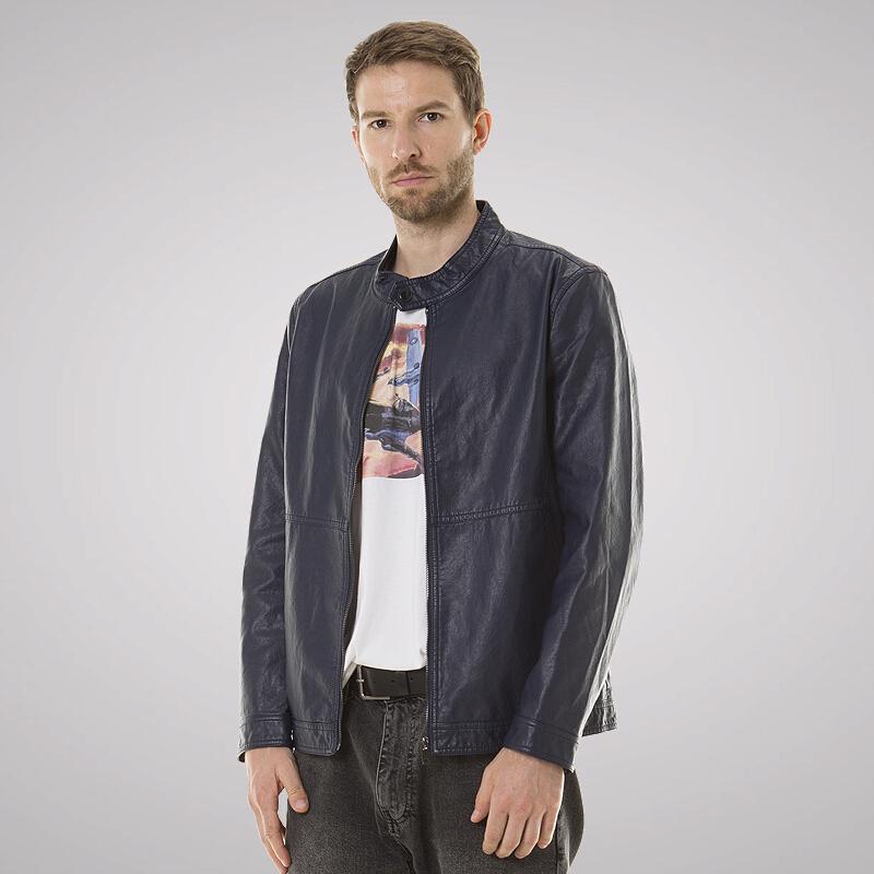Luxury Lane旗下BGSD夹克男春季新款立领PU皮夹克男士外套 深蓝色 L(175-92A)