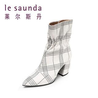 le saunda 莱尔斯丹 年秋冬新款尖头马蹄跟粗高跟短筒靴女靴 82003