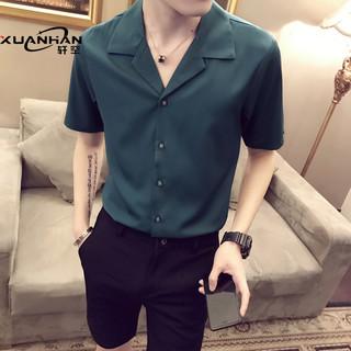 网红很仙的短袖男衬衫发型师韩版潮流薄款夏寸衫潮男痞帅半袖衬衣