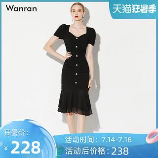 黑色气质性感修身裙子显瘦中长款雪纺连衣裙包臀女装2021夏季
