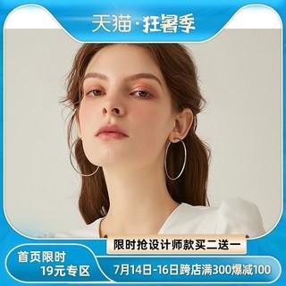 纯银耳圈圆圈耳环女2021年新款潮韩国气质圆环形大圈圈款耳钉耳饰