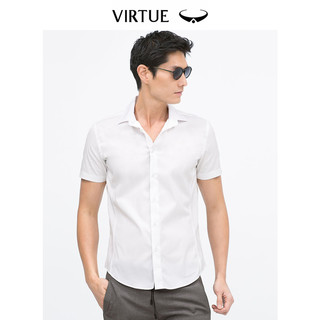 富绅男士短袖衬衫修身纯色白衬衫白色衬衣商务正装寸衫