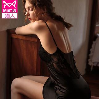 Miiow 猫人 吊带睡裙女性感黑色夏季薄款蕾丝睡衣女冰丝家居服仿真丝带胸垫女士睡衣