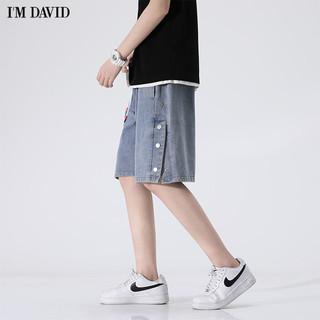 爱大卫 男士牛仔短裤 宽松直筒五分裤