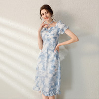 拉夏贝尔旗下新款夏季扎染高腰碎花连衣裙短款吊带裙子女 M 蓝色
