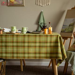 锦色华年 现代简约餐桌布布艺绿英伦格子桌布长方形茶几台布电视柜盖布定制