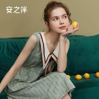 安之伴 睡衣女夏季薄款新款针织纯棉无袖背心甜美睡裙家居服中长款