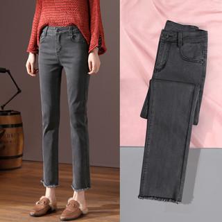 牛仔裤女直筒高腰宽松显瘦2021年春装新款烟灰黑色烟管微喇叭裤子