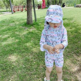夏之恋 韩国ins宝宝泳衣彩虹小马儿童连体可爱女童小童宝宝防晒冲浪套装