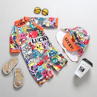 夏之恋 国潮新品儿童泳衣街头嘻哈街舞涂鸦泳装中小童连体防晒冲浪服套装