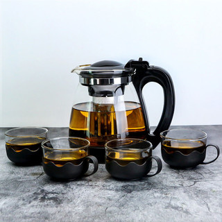 京东PLUS会员 : 玻璃泡茶壶套装 过滤茶叶茶壶单壶壶 飘逸杯 大容量 功夫茶具 1000毫升壶+4个莲花杯 茶壶