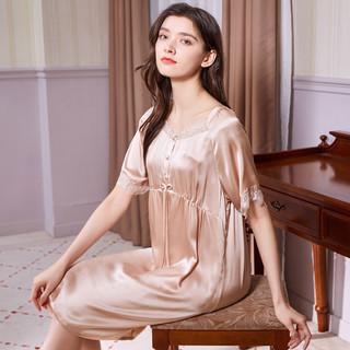 MEIBIAO 美标 21年新款短袖100%桑蚕丝睡衣19姆米丝绸玻尿酸真丝睡裙女春夏