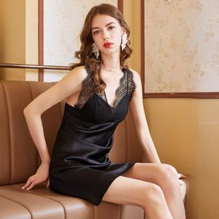 MEIBIAO 美标 100%桑蚕丝19姆米重磅带胸垫蕾丝无袖性感夏真丝睡衣女睡裙