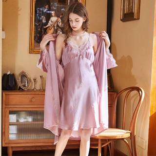 MEIBIAO 美标 21年新款重磅丝绸100%桑蚕丝吊带睡裙性感夏真丝睡袍两件套