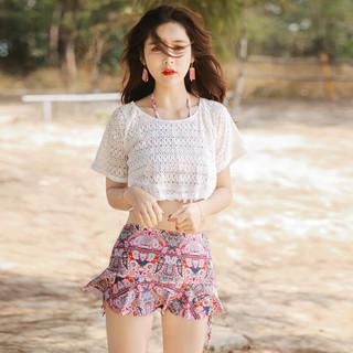 DK 韩版少女分体裙式比基尼小胸聚拢钢托三件套舒适度假日游泳衣女 花色 民族风3件套 L