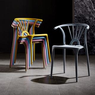 三强 北欧塑料椅子靠背凳子书桌加厚餐桌餐椅现代简约家用塑胶懒人椅子