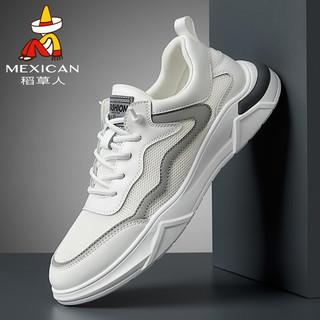 Mexican 稻草人 男鞋休闲鞋子男士透气飞织网布鞋男小白跑步运动鞋韩版潮流轻质舒适 白色 42(限plus,需用券)