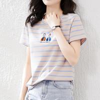 COLLECTION MU 夏季新款圆领套头短袖女t恤简约卡通刺绣条纹撞色甜美女生T恤