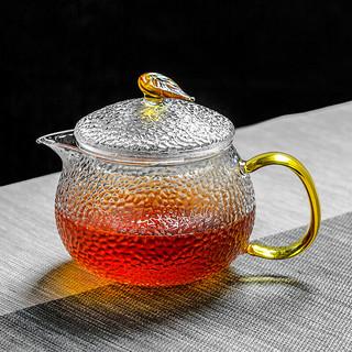 京东PLUS会员 : 雅集 锤纹玻璃茶壶 加厚过滤煮茶壶 耐高温泡茶器 家用功夫茶具600ml