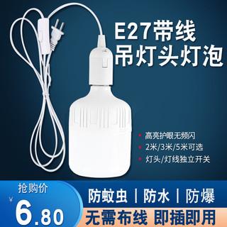 金雨莱家用LED卧室简易E27带插头开关延长线超亮节能灯泡悬挂壁灯